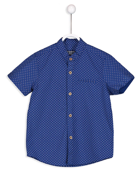 Lacivert Kısa Kollu Poplin Gömlek 8S4576Z4 LC Waikiki
