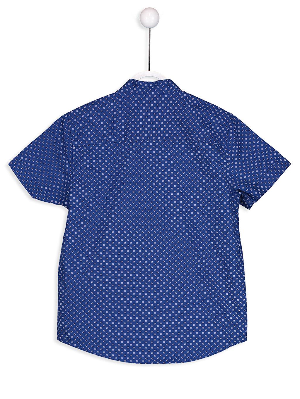 %100 Pamuk Standart Kısa Kol Desenli Kısa Kollu Poplin Gömlek