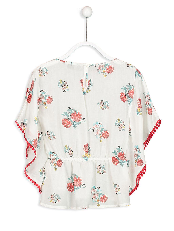 %100 Viskoz Standart Bluz Desenli Kısa Kol Çiçek Desenli Viskon Bluz
