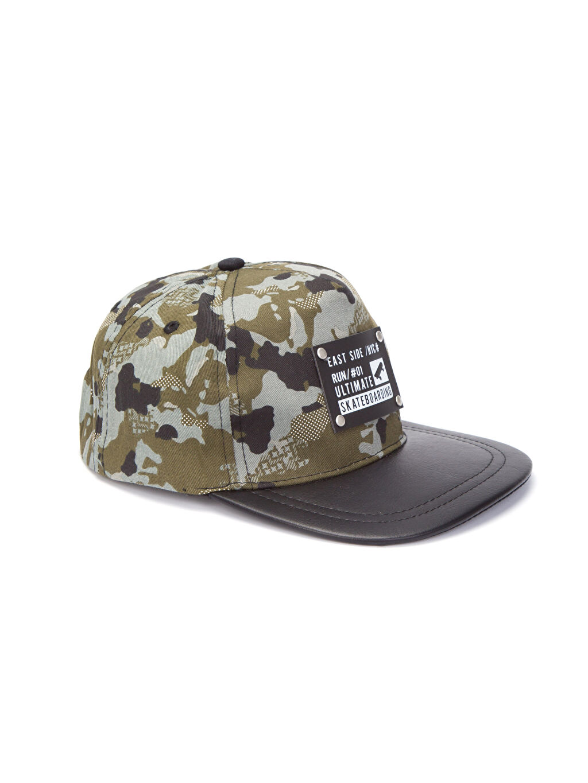 Haki Erkek Çocuk Kamuflaj Desenli Pamuklu Şapka 8S7183Z4 LC Waikiki