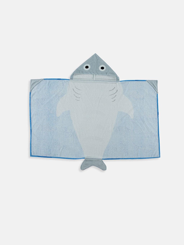 %100 Pamuk  Köpekbalığı Desenli Panço Havlu