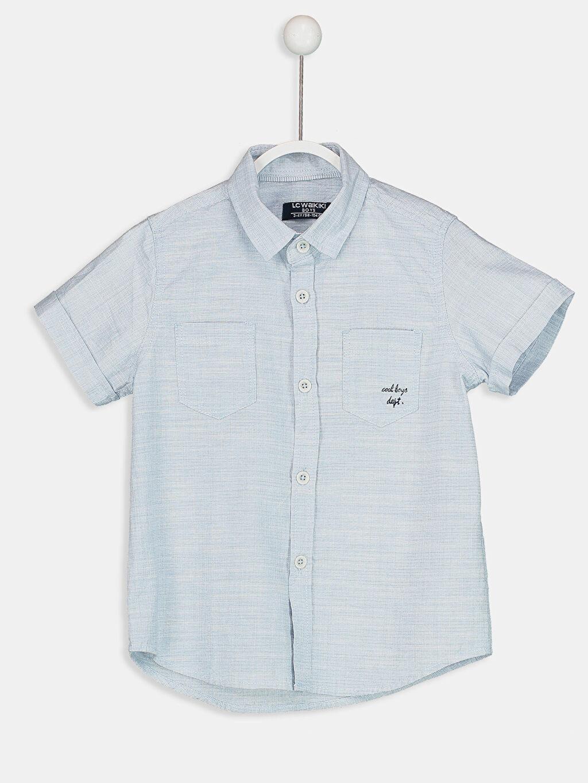 Mavi Kısa Kollu Poplin Gömlek 8SG811Z4 LC Waikiki
