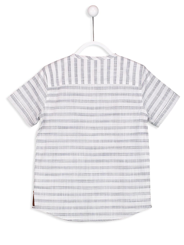 Erkek Çocuk Düğme Detaylı Çizgili Poplin Gömlek