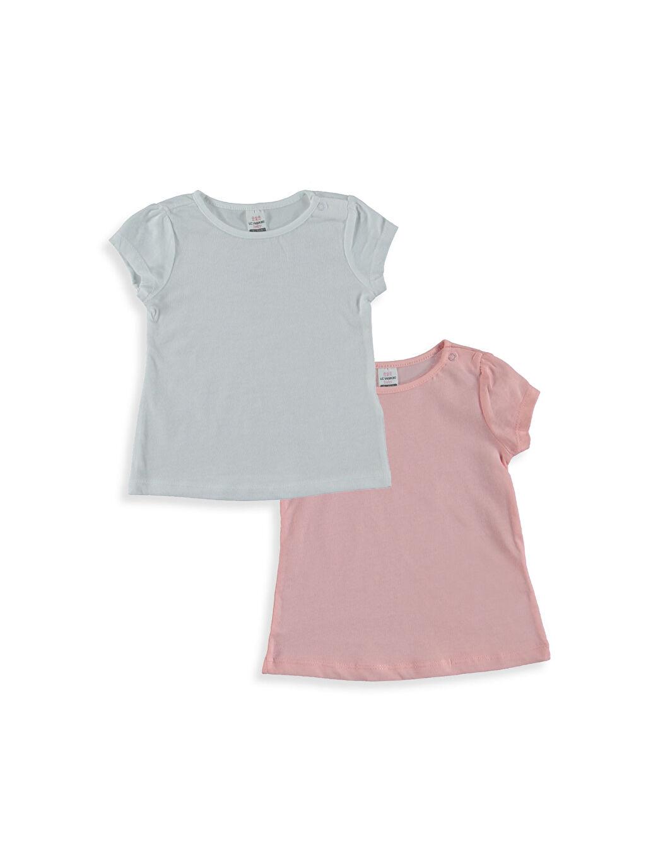 Beyaz Kız Bebek Pamuklu Tişört 2'li 8S3687Z1 LC Waikiki