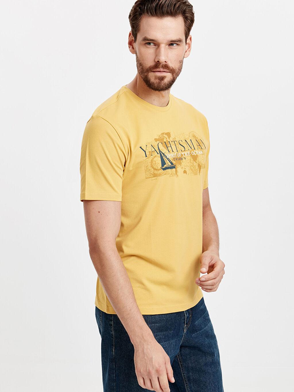 Sarı Baskılı Bisiklet Yaka Kısa Kollu Pamuklu Tişört 8W2627Z8 LC Waikiki