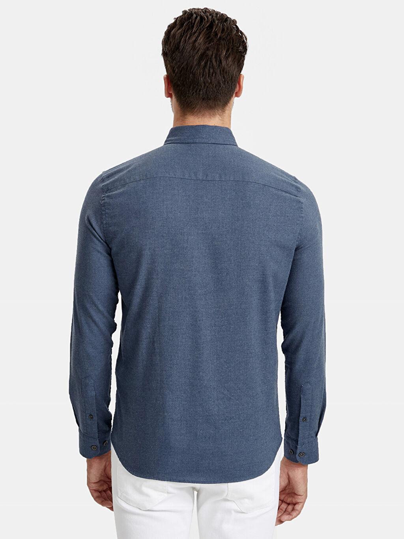 %61 Pamuk %39 Polyester Dar Düz Uzun Kol Gömlek Düğmeli Slim Fit Uzun Kollu Oxford Gömlek