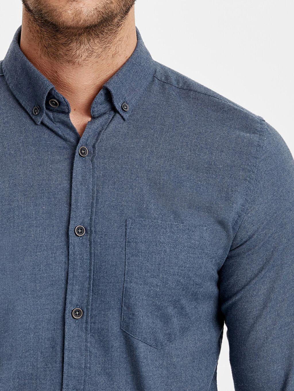 %61 Pamuk %39 Polyester Slim Fit Uzun Kollu Oxford Gömlek