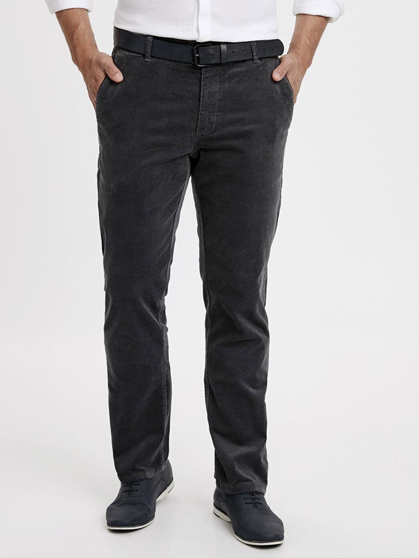 %98 Pamuk %2 Elastan Normal Bel Normal Pantolon Pilesiz Rahat Kalıp Kadife Pantolon
