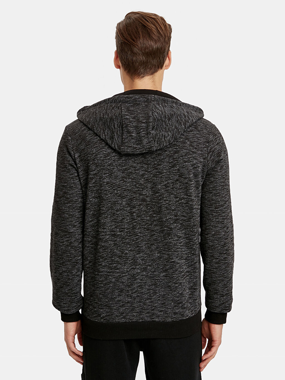 %56 Pamuk %44 Polyester Üst Grup Kapüşonlu Fermuarlı Sweatshirt