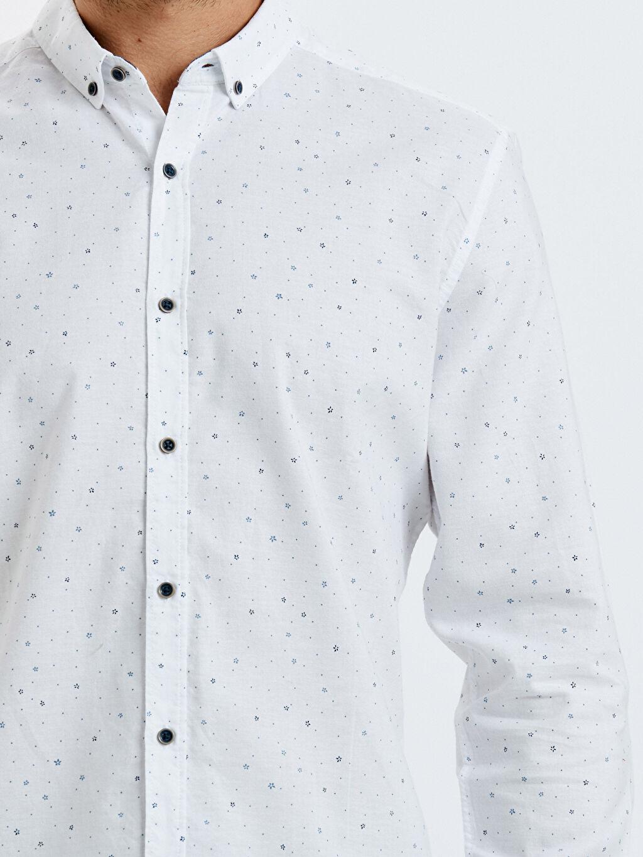%100 Pamuk Slim Fit Desenli Uzun Kollu Oxford Gömlek