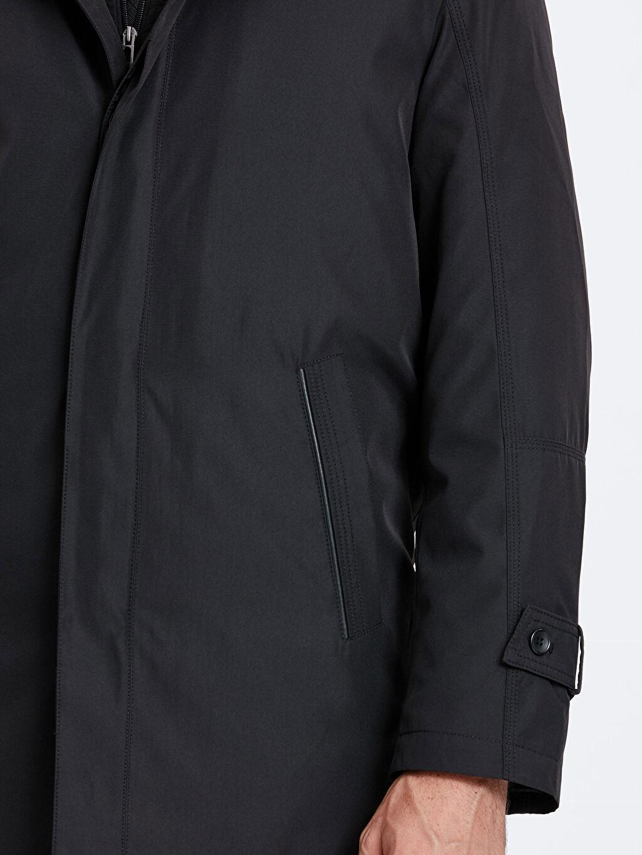 LC Waikiki Siyah Ceket Yaka Kalın Kaban