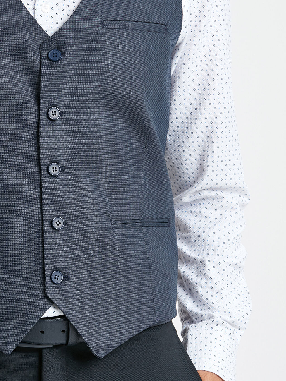 %65 Polyester %35 Viskon Dar Kalıp Klasik Yelek