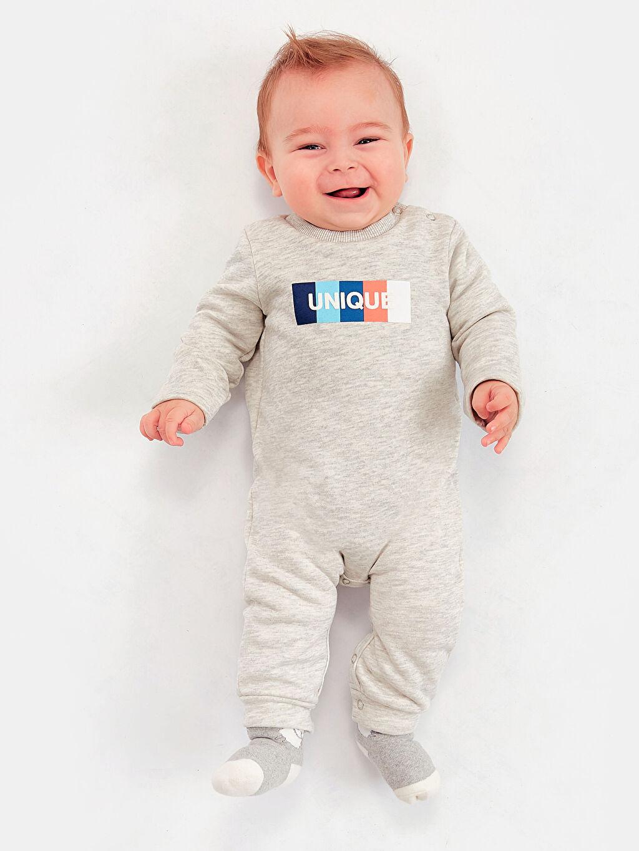 Gri Erkek Bebek Çıtçıtlı Tulum 8WM808Z1 LC Waikiki