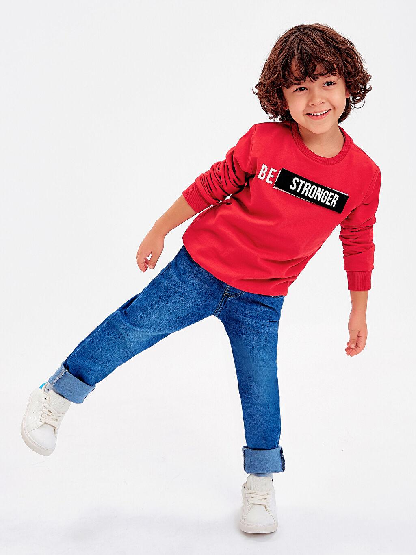 Kırmızı Erkek Çocuk Yazı Baskılı Sweatshirt 8WM821Z4 LC Waikiki