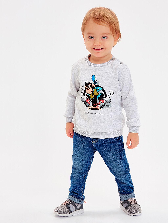 Erkek Bebek Erkek Bebek Nostaljik Maymun Baskılı Sweatshirt