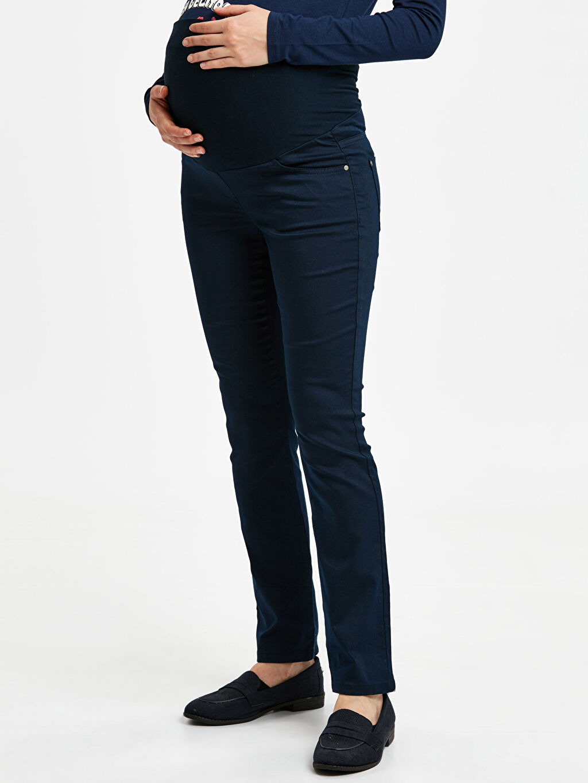 %66 Pamuk %30 Polyester %4 Elastan Pantolon Pamuklu Düz Paça Hamile Pantolon