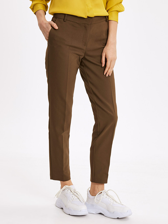 %54 Pamuk %42 Polyester %4 Elastan Dar Normal Bel Esnek Dar Paça Kumaş Pantolon Bilek Boy Slim Kumaş Pantolon