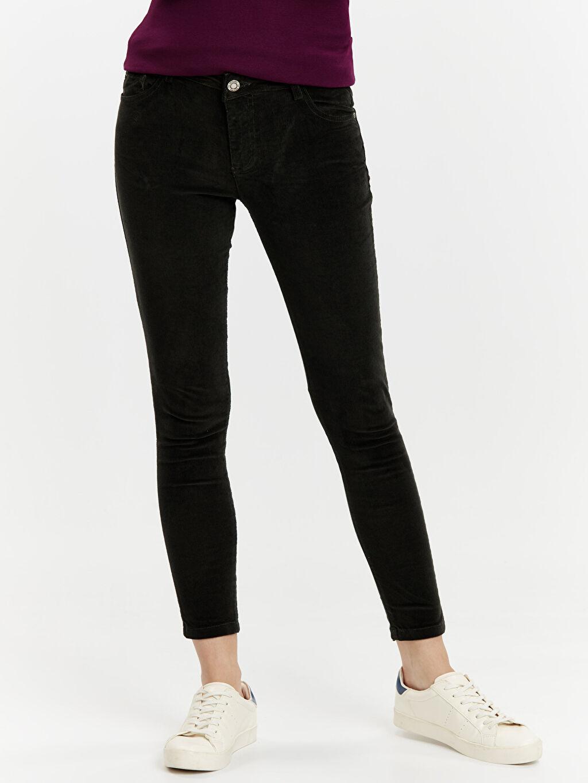 %98 Pamuk %2 Elastan Normal Bel Skinny Esnek Pantolon Kadife Skinny Pantolon