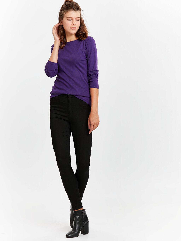 Kadın Uzun Kollu Düz Pamuklu Tişört