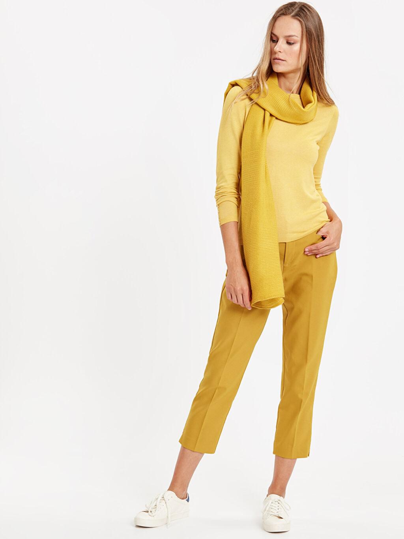 Sarı Beli Lastikli Düz Paça Kumaş Pantolon 8W4389Z8 LC Waikiki