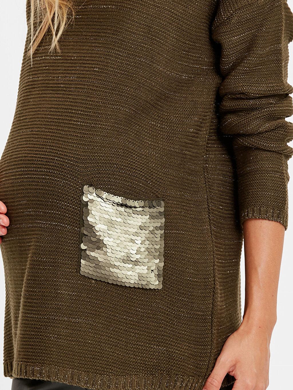 %98 Akrilik %1 Polyester %1 Metalik iplik Işıltılı Pul Nakışlı Akrilik Hamile Kazak
