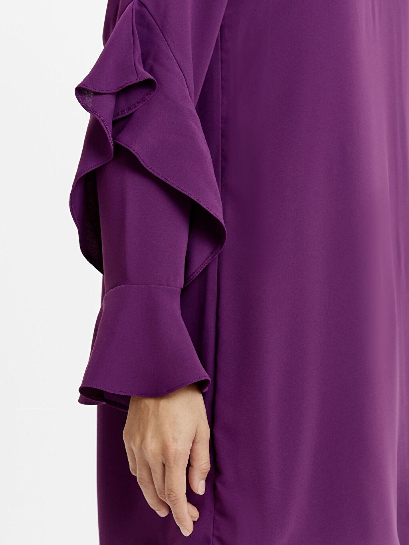 %100 Polyester Kolları Fırfırlı Krep Tunik