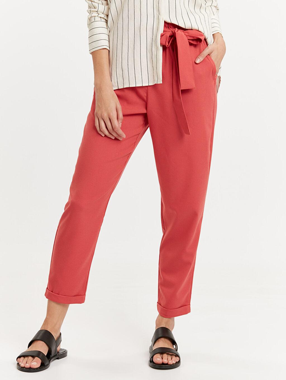 %65 Polyester %3 Elastan %32 Viskon Normal Bel Standart Lastikli Bel Pantolon Esnek Bilek Boy Poliviskon Havuç Pantolon