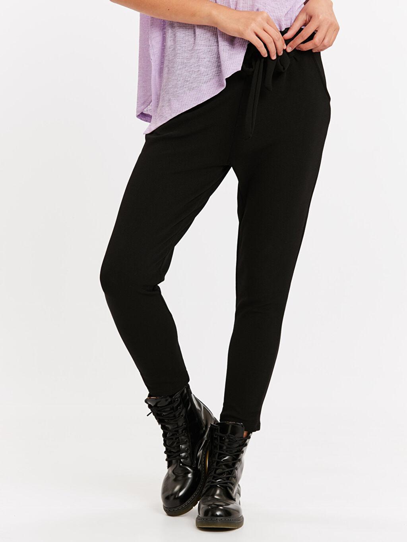 %95 Poliester %5 Elastan Normal Bel Havuç Lastikli Bel Pantolon Beli Lastikli Havuç Pantolon