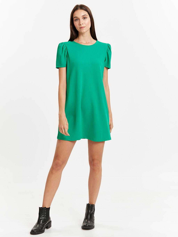 Yeşil Karpuz Kol Jakarlı Mini Elbise 8WI992Z8 LC Waikiki