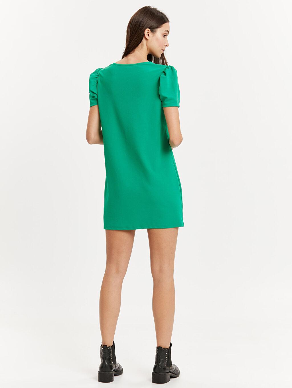 %96 Poliester %4 Elastan Diz Üstü Düz Kısa Kol Karpuz Kol Jakarlı Mini Elbise