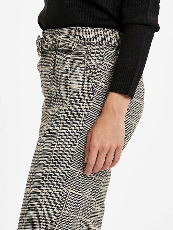%67 Polyester %30 Viskoz %3 Elastan Kemerli Ekose Havuç Pantolon