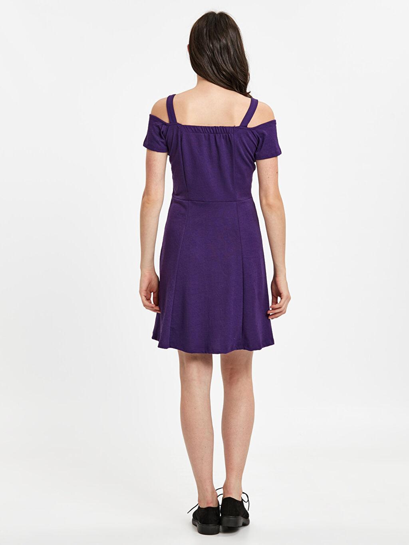 %98 Polyester %2 Elastan Diz Üstü Düz Kısa Kol Omuzları Açık Mini Elbise