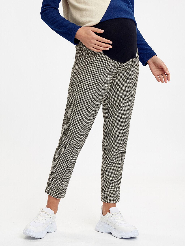 %64 Polyester %2 Elastan %34 Viskon Pantolon Ekose Hamile Pantolon