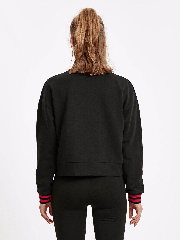 %49 Pamuk %51 Polyester Üst Grup Yakası Fermuarlı Sweatshirt