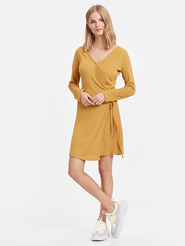 Sarı Kruvaze Mini Elbise 8WK904Z8 LC Waikiki