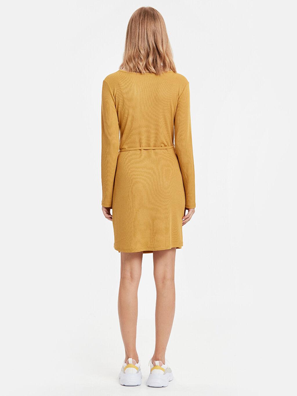 %42 Polyester %58 Viskon Diz Üstü Düz Uzun Kol Kruvaze Mini Elbise