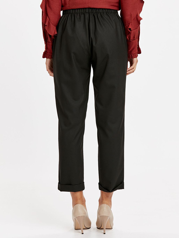 Kadın Beli Lastikli Havuç Kumaş Pantolon
