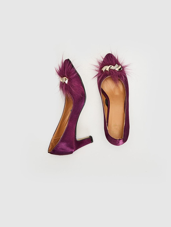 Tekstil malzemeleri Diğer malzeme (poliüretan)  Kadın Tüy Tokalı Topuklu Ayakkabı