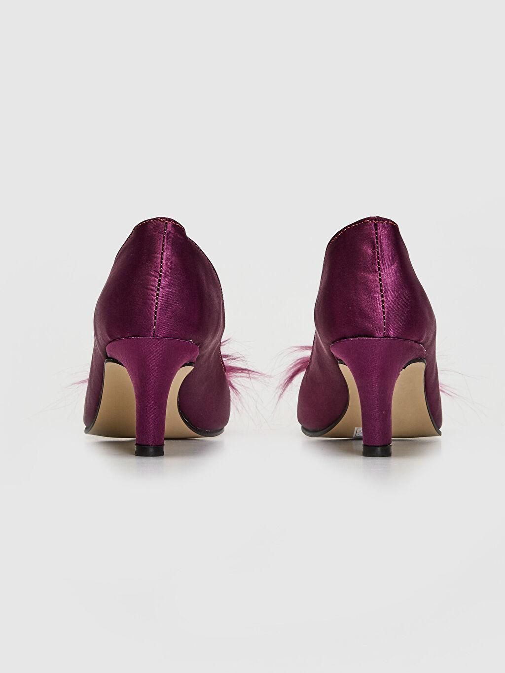 Kadın Tüy Tokalı Topuklu Ayakkabı