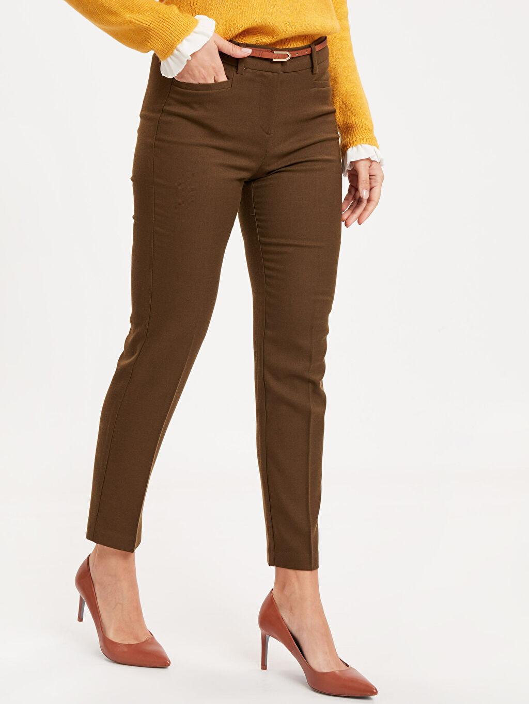 %68 Poliester %29 Vıscose %3 Elastane Yüksek Bel Esnek Standart Kumaş Pantolon Bilek Boy Düz Paça Kumaş Pantolon