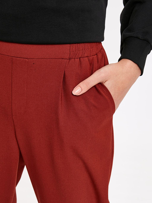 %64 Polyester %4 Elastan %32 Viskon Beli Lastikli Havuç Pantolon