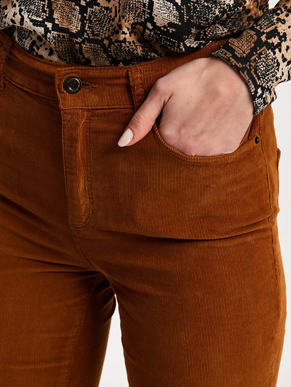 %97 Pamuk %3 Elastan Bilek Boy Super Slim Kadife Pantolon