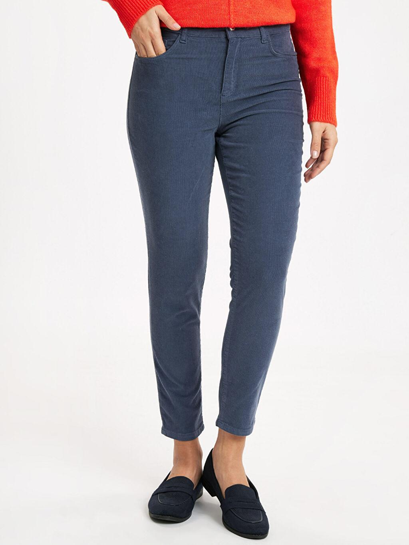 %97 Pamuk %3 Elastan Yüksek Bel Esnek Dar Kadife Pantolon Bilek Boy Super Slim Kadife Pantolon