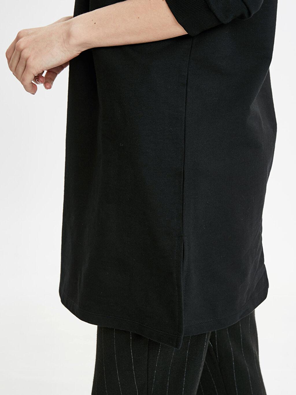 %82 Pamuk %18 Polyester Yakası Fermuarlı Uzun Sweatshirt