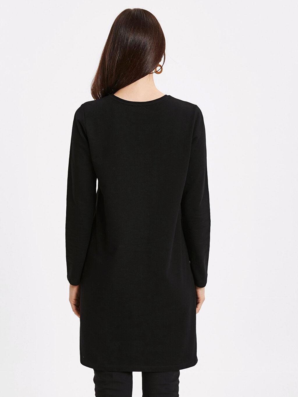 %82 Pamuk %18 Polyester  Cep Detaylı Uzun Sweatshirt