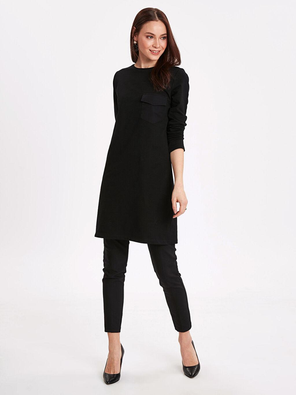 Kadın Cep Detaylı Uzun Sweatshirt