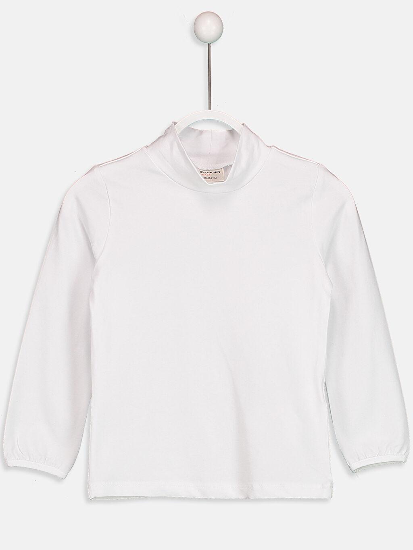 Beyaz Düz Pamuklu Balıkçı Yaka Tişört 8W0138Z4 LC Waikiki