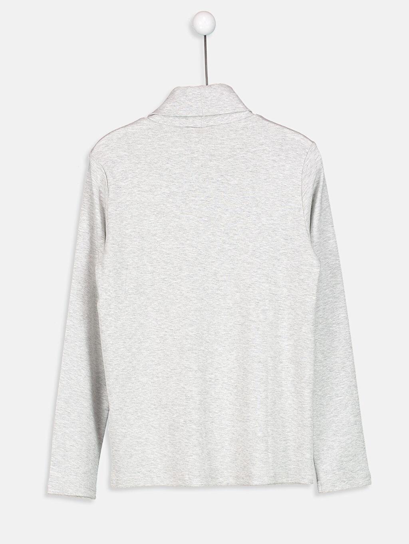 %99 Pamuk %1 Viskoz Standart Tişört Düz Uzun Kol Balıkçı Yaka Balıkçı Yaka Uzun Kollu Pamuklu Tişört