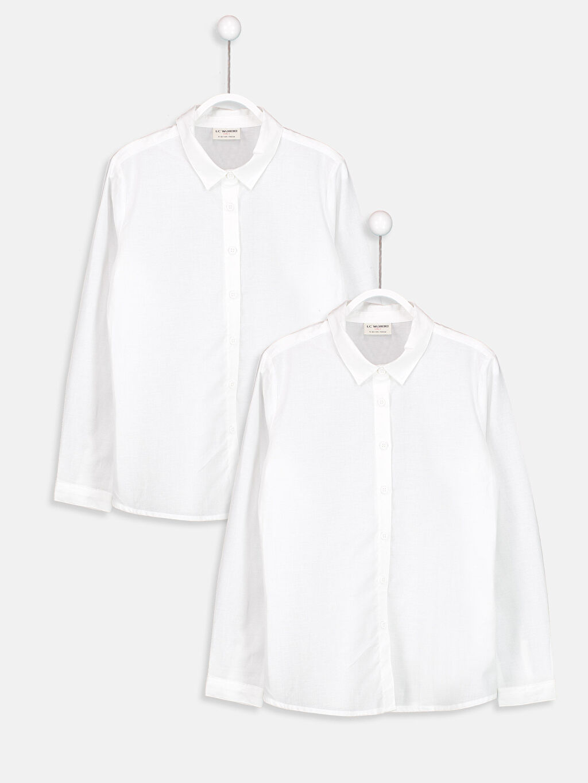 Beyaz Uzun Kollu Poplin Gömlek 2'li 8W1071Z4 LC Waikiki