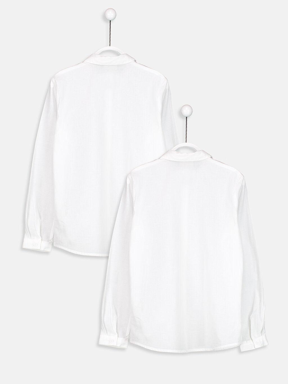 %100 Pamuk Standart Gömlek Düz Uzun Kol Uzun Kollu Poplin Gömlek 2'li